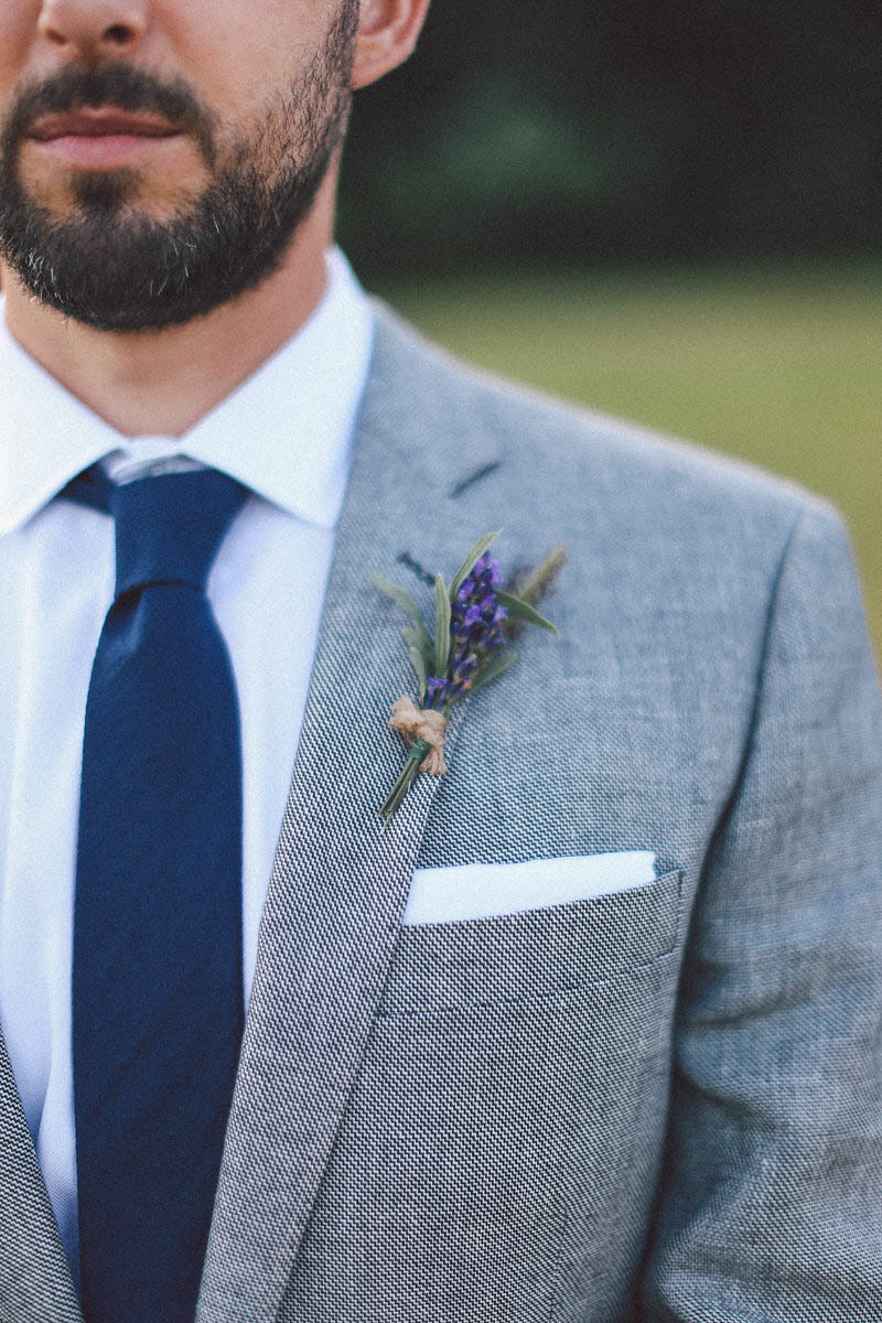 small lavender boutonnere