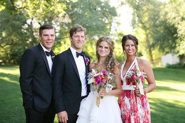 bridesmaid in print dress