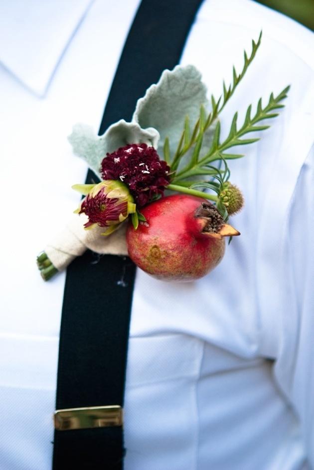 pomegranate boutonniere