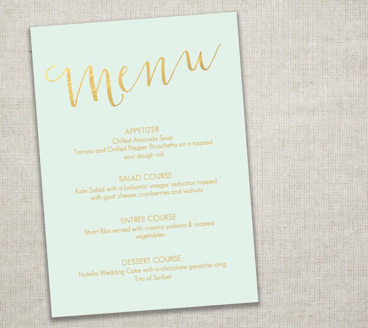 Mint and gold menu