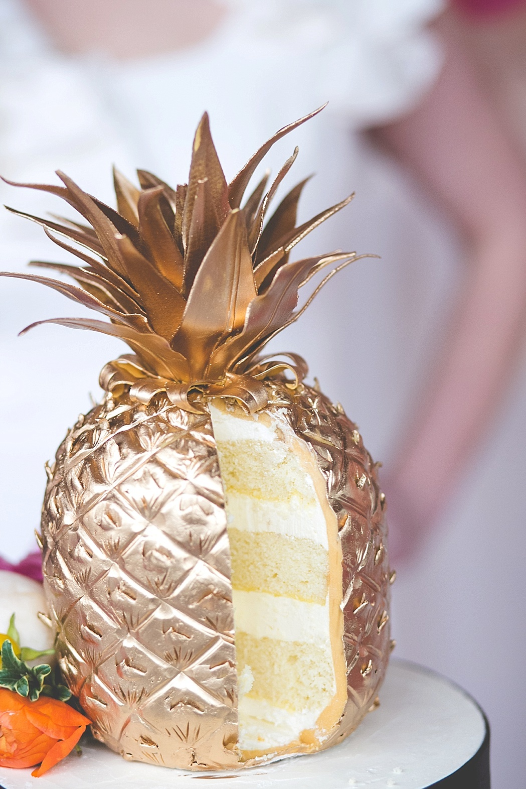 Gold Pineapple Wedding Cake by Midwest Bride