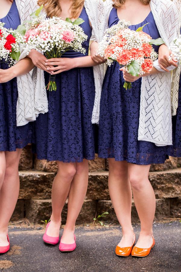bright bridesmaid flats