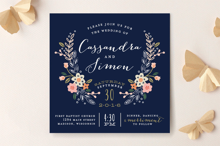Navy blue and floral wedding invitation