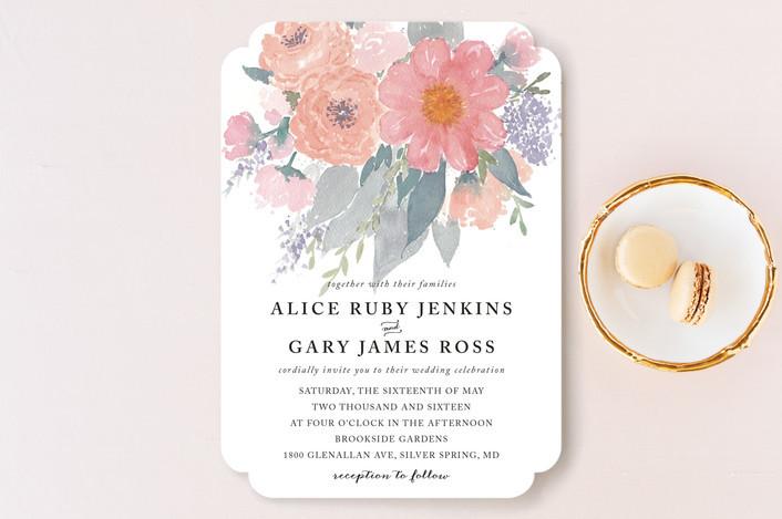 Fresh Watercolor Floral Wedding Invitation