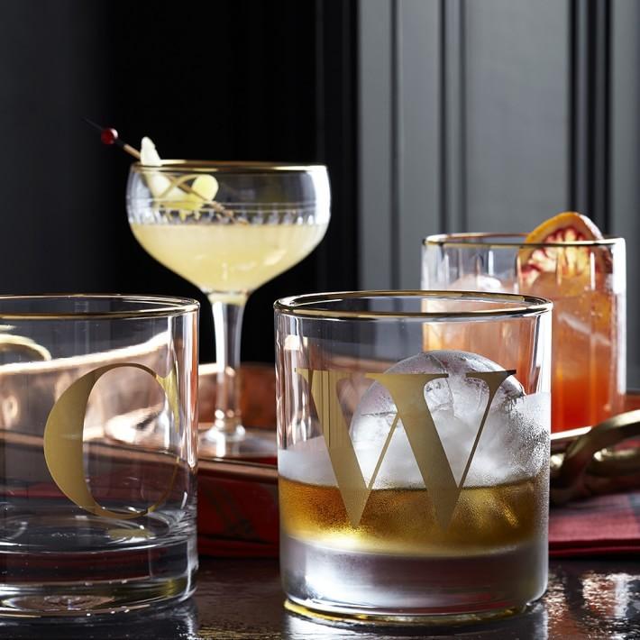 Gold Monogram Double Old-Fashioned Glasses - Williams-Sonoma Wedding Registry