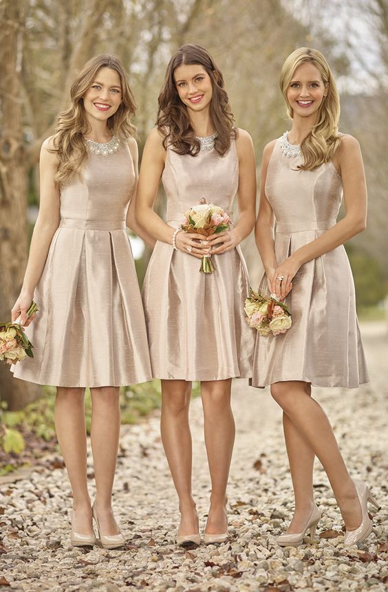 shiny bridesmaid dresses