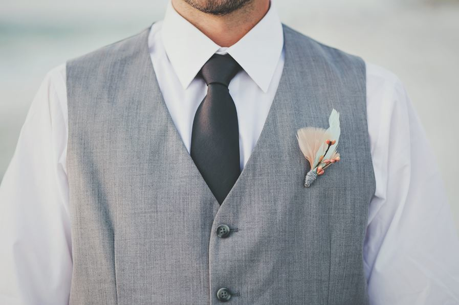 Peach and Mint Groom's Boutonniere via Monika Gauthier Photography