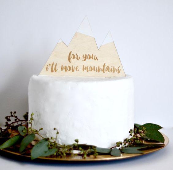 Mountain Wedding Cake Topper by Fancy Face Studio