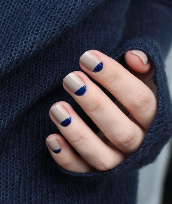 nude and navy manicure