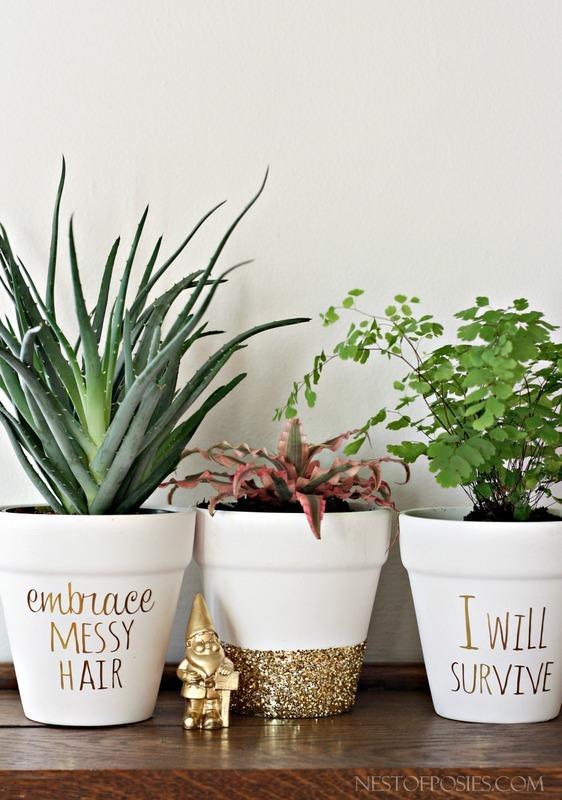 DIY Gold Foil Flower Pots