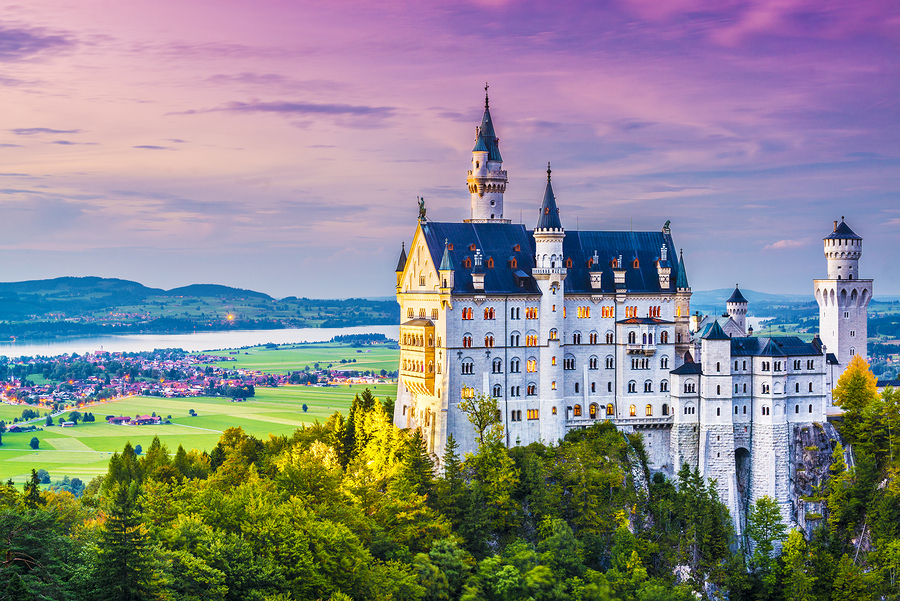 Colorful evening skyline of castle in Romantic Way, Germany