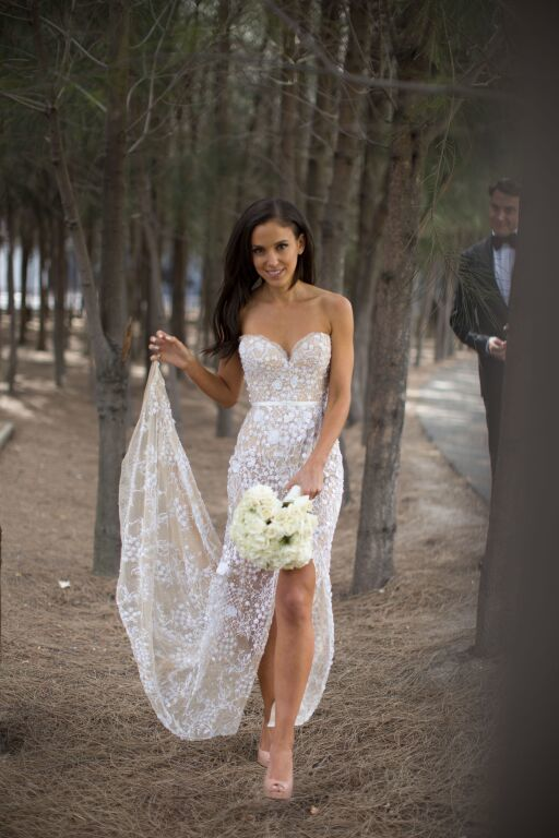 Lovely and different nude colour wedding dress | Pronovias