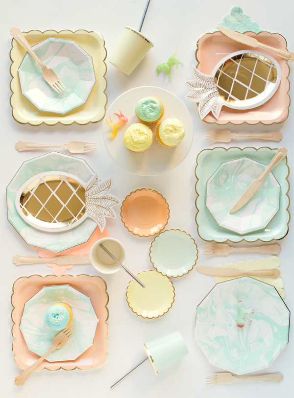 Pastel Pineapple and Marble Tablescape by Oh Happy Day