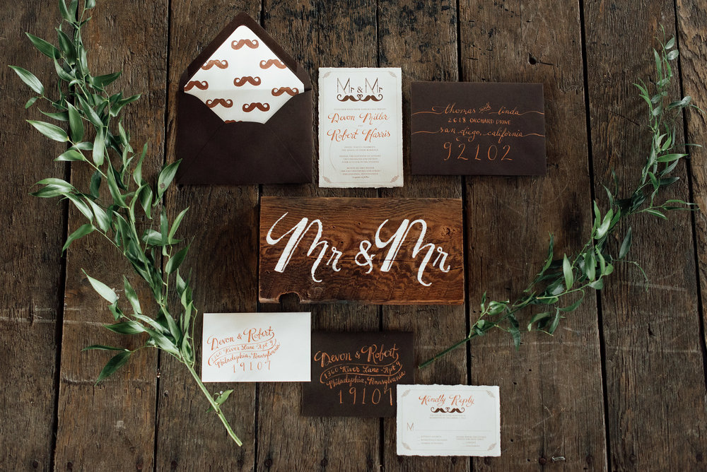 Mr. and Mr. Wedding Stationery by Oh Mai Art Creations