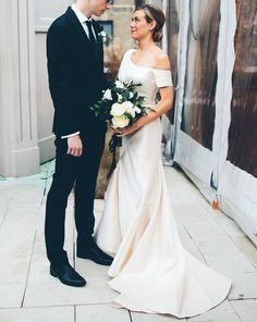 asymmetrical sleeve weddding dress