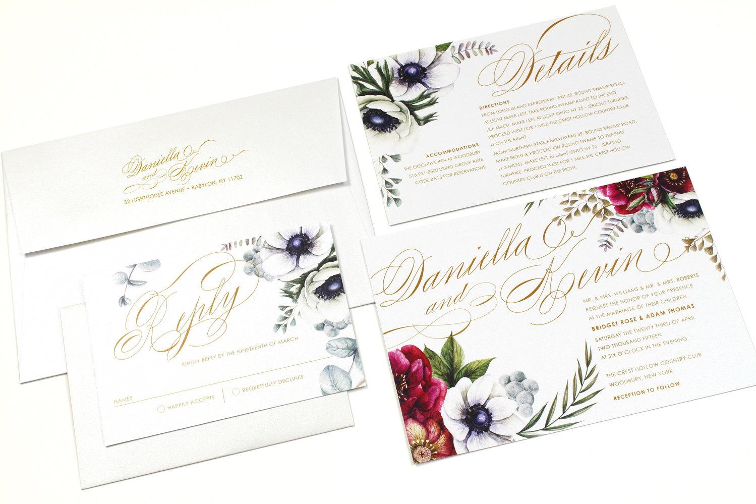 winter flower invitation