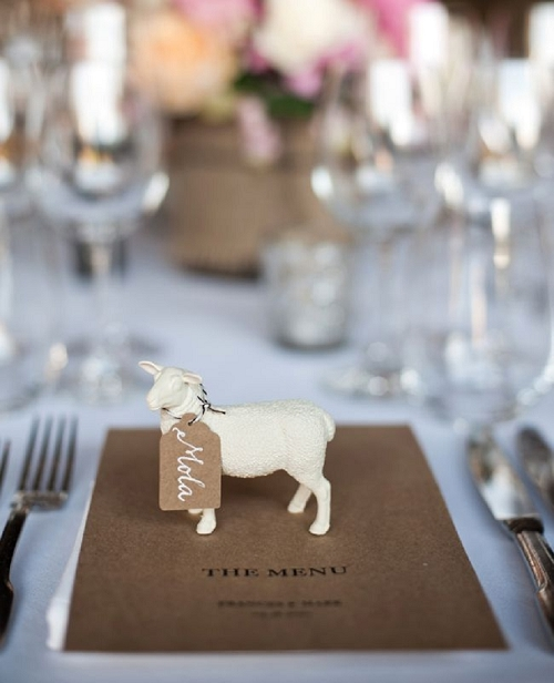 Farm Animal Wedding Place Setting by Paper & Lace