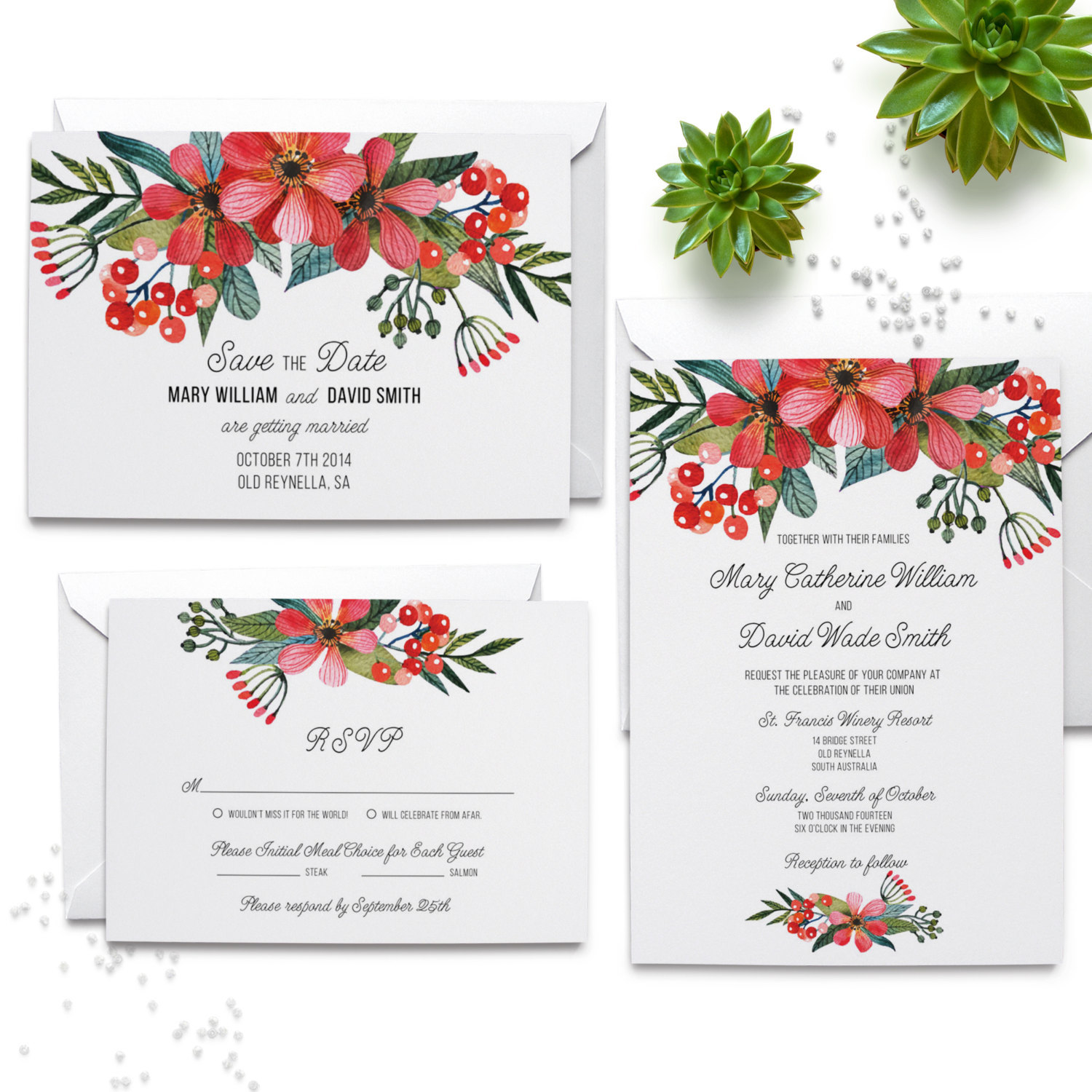 red and pink invite