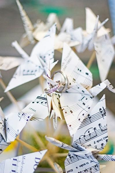 Music wedding paper cranes