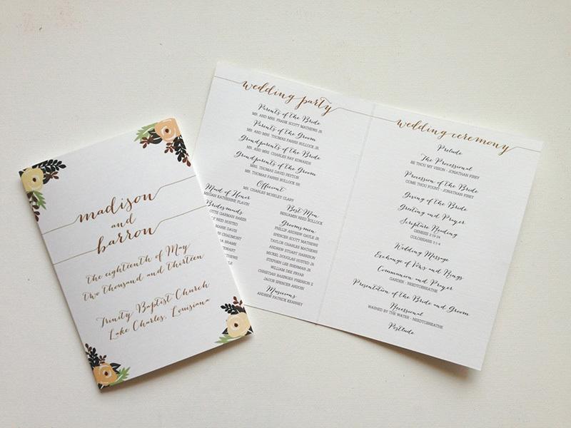 sweet wedding program