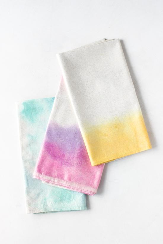 DIY watercolor napkins