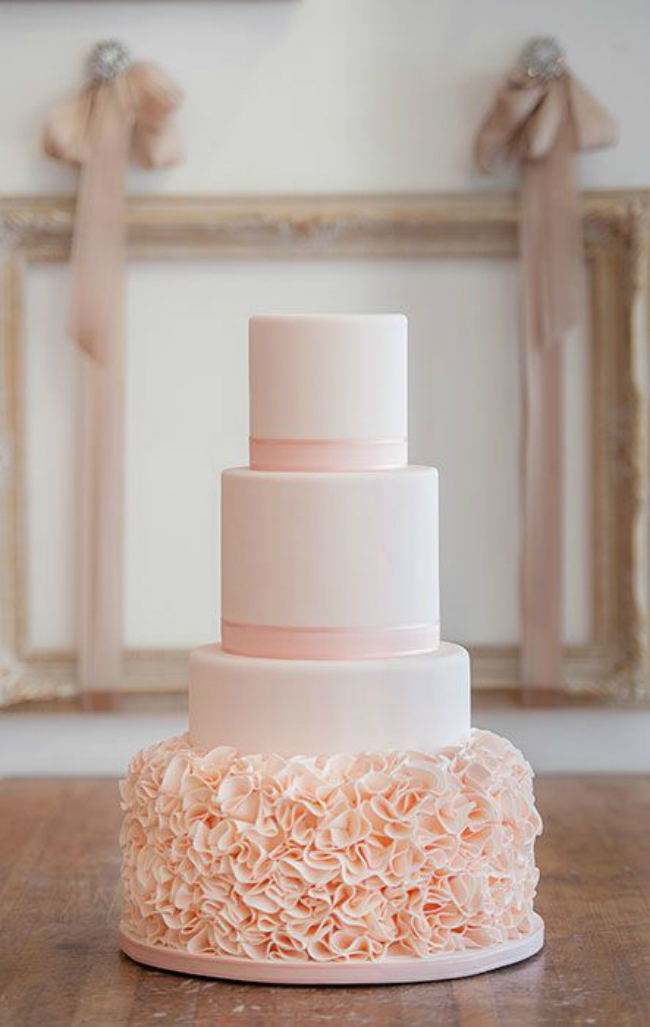 Simple peach frosting wedding cake