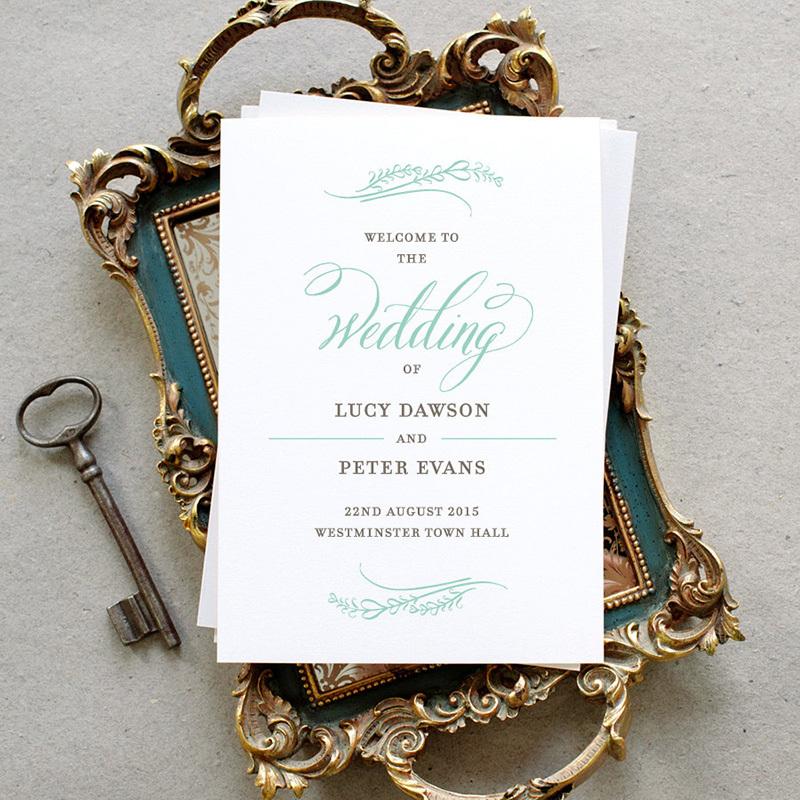 mint wedding program
