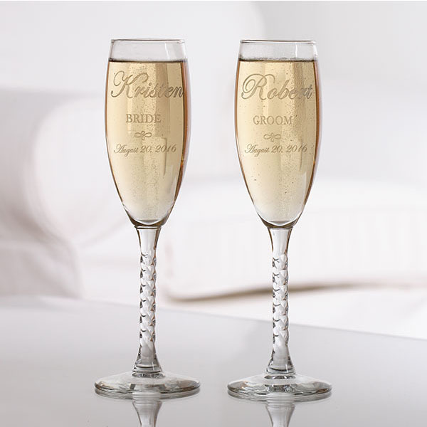 Personalized Champagne Flute Set