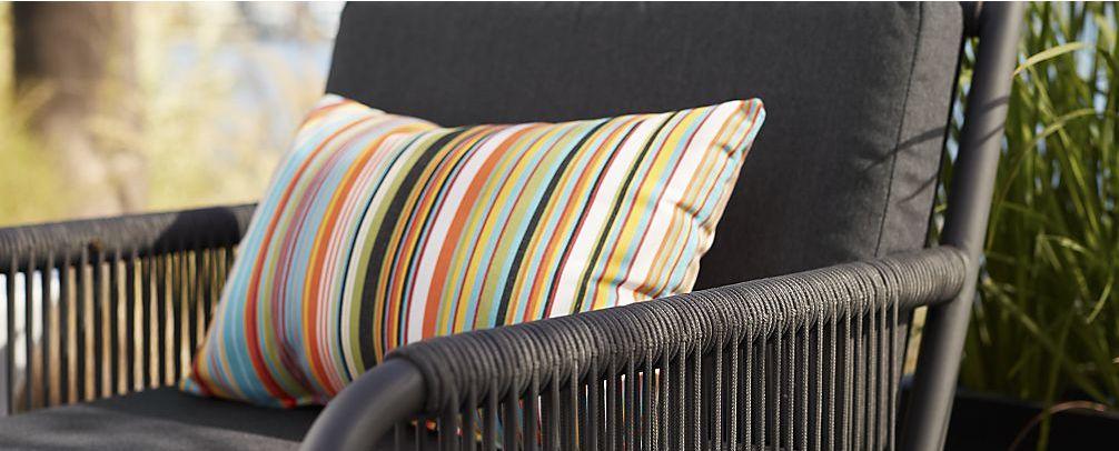 Chromatic Micro Striped Outdoor Lumbar Pillow via Crate & Barrel