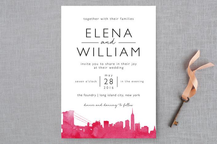 pink skyline wedding invitation
