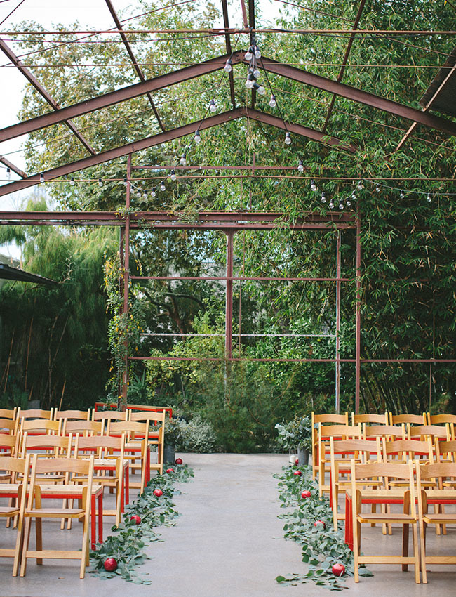 pomegranate wedding aisle