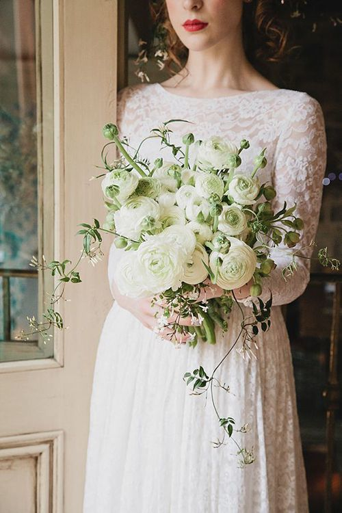 Ranunculus white wedding bouquet