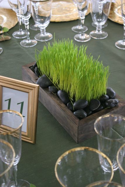 planted grass centerpiece
