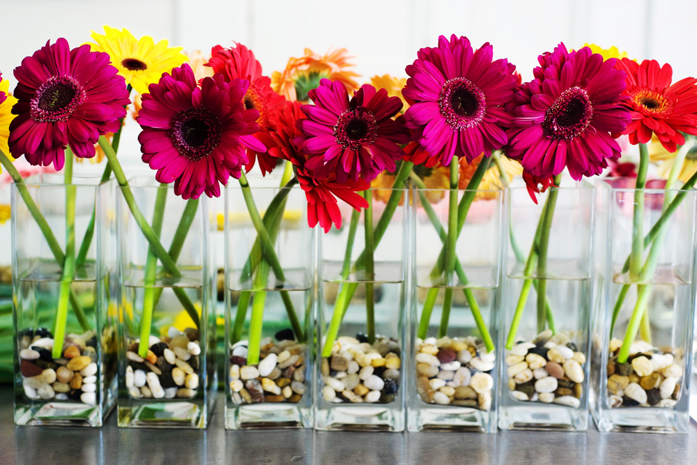 bright gerbera centerpieces