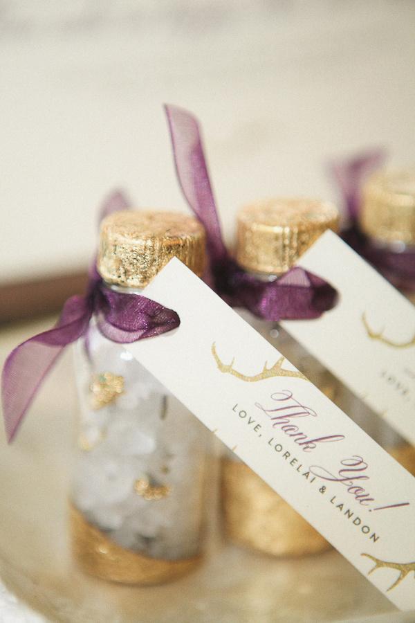 Gold foil message in a bottle wedding favors