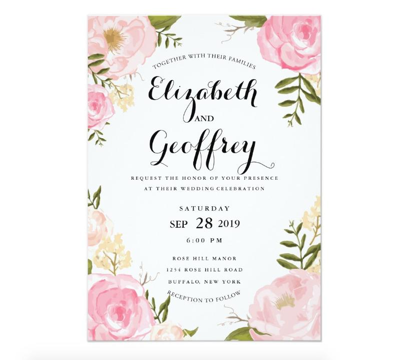 Modern Vintage Floral Invitation