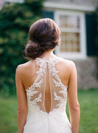 Keyhole back illusion wedding dress