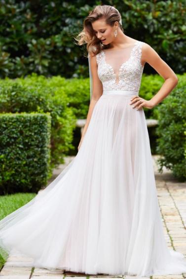 Illusion v-neck wedding dress