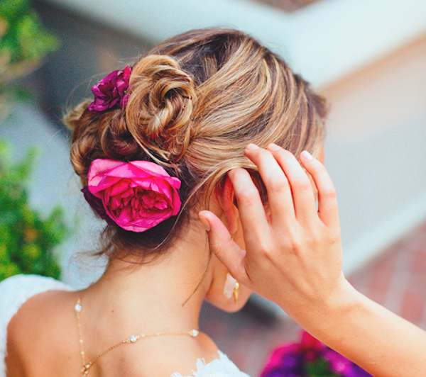 Wedding hair updo with flowers