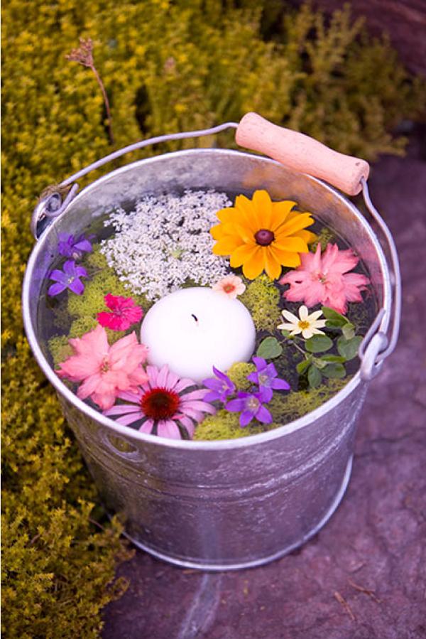 floral bucket centerpiece