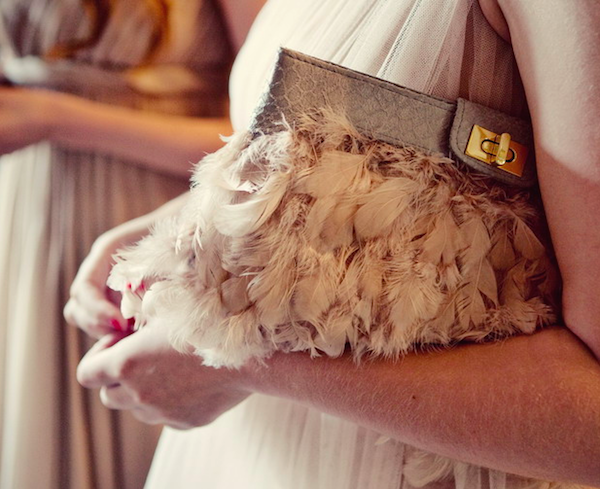 Wedding clutch with feathers
