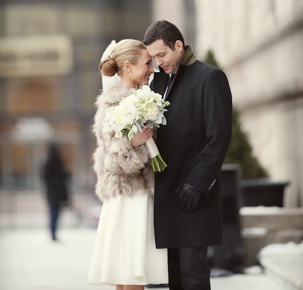 Boston wedding with winter coat