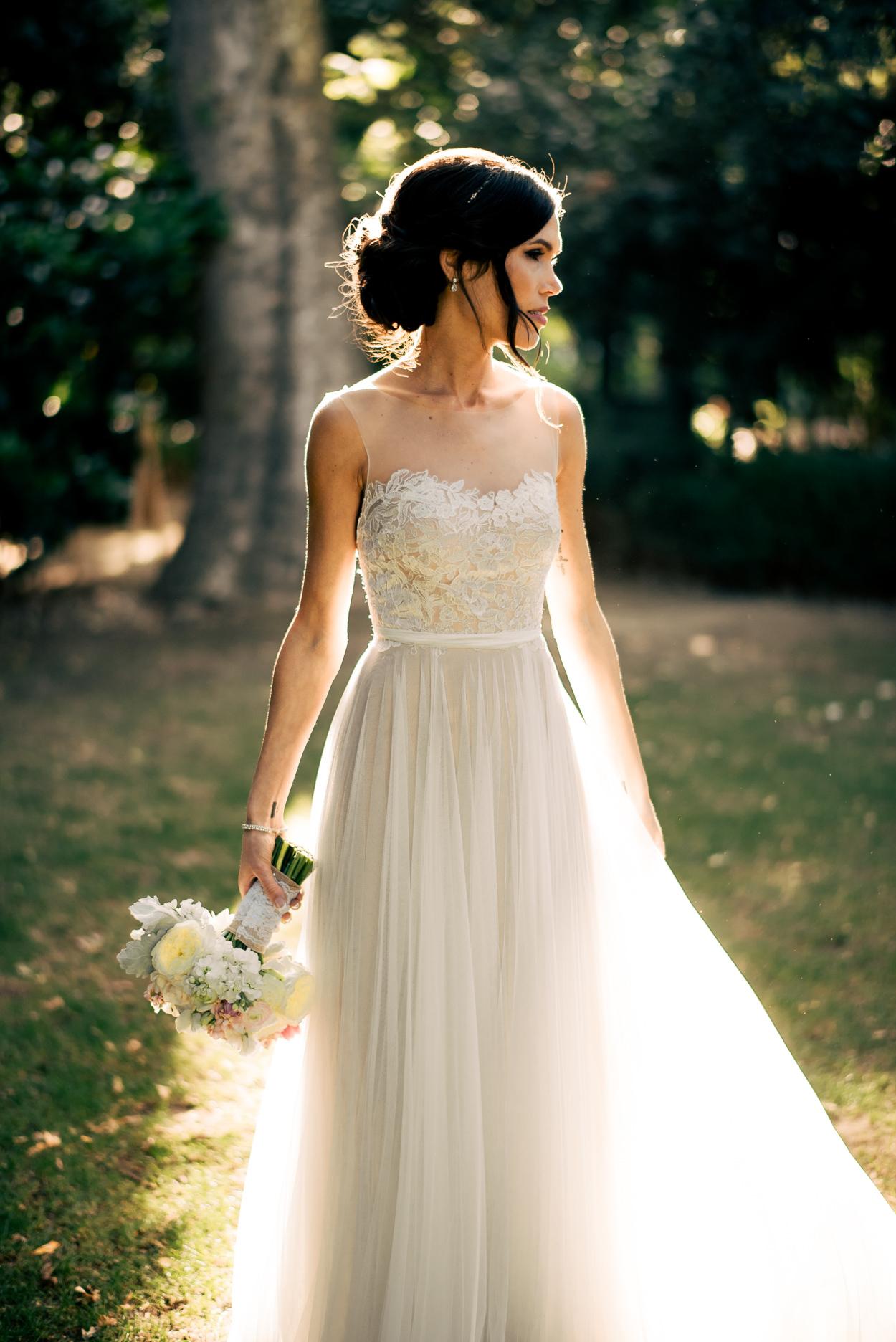 Sheer Bateau Wedding Dress