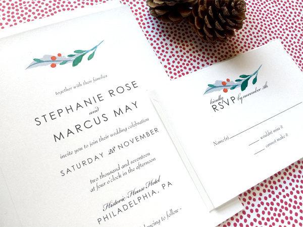 modern winter invitation