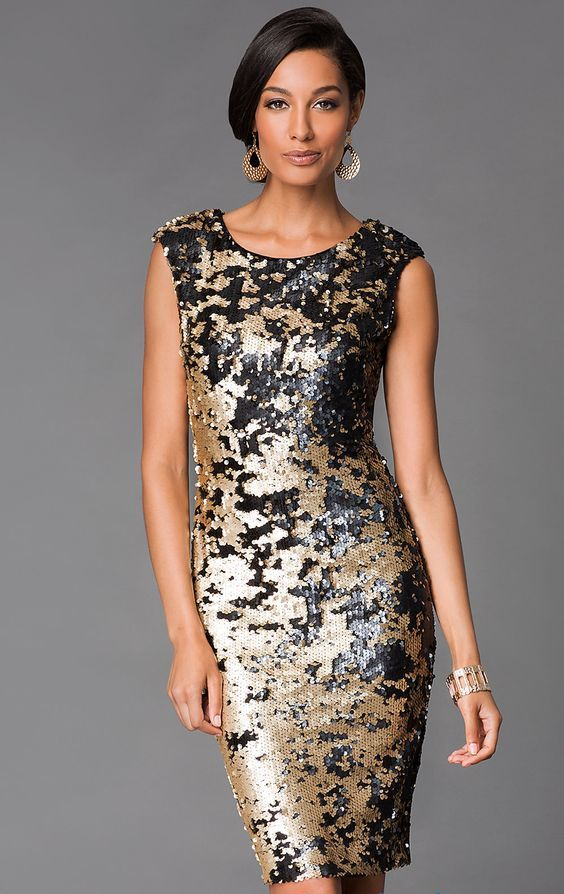 duo colored sequin dress