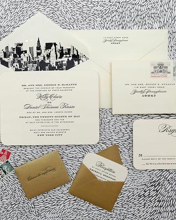 skyline envelope wedding invitation