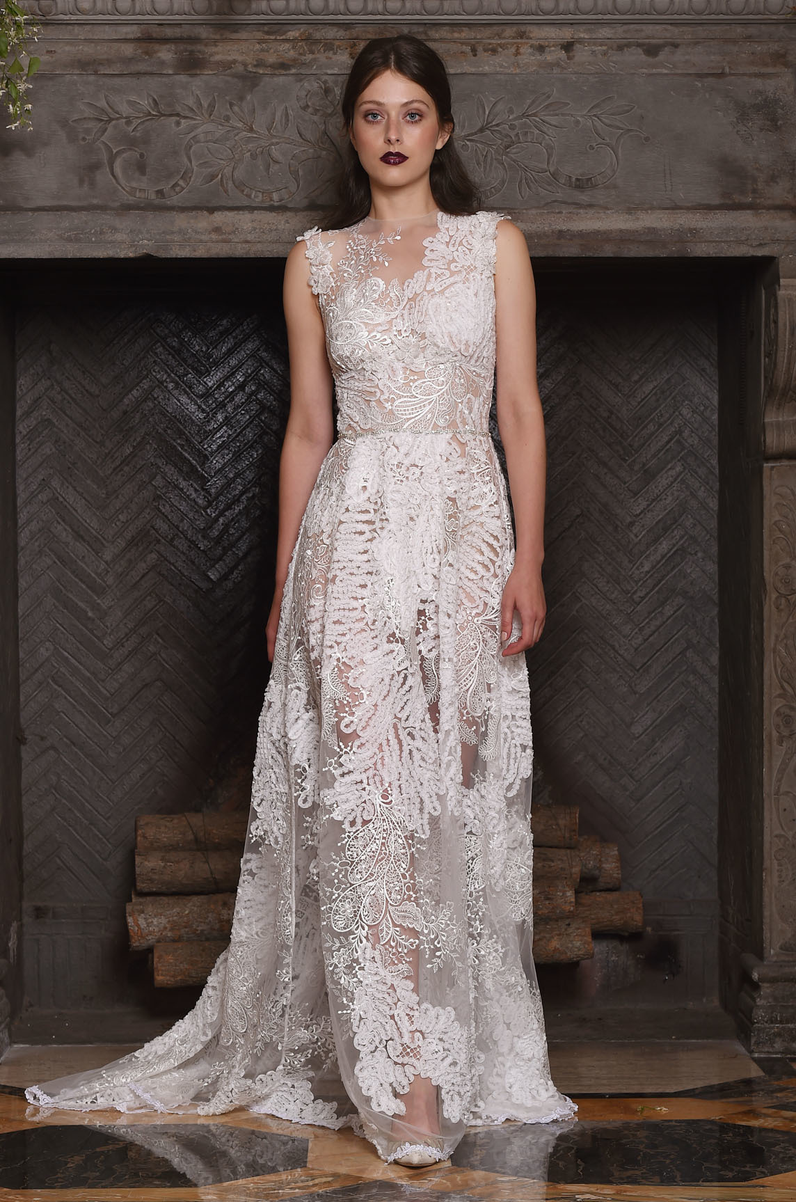 sheer wedding dress