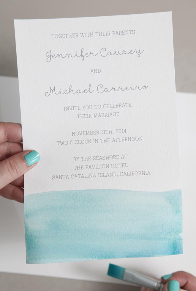 aqua watercolor invitations