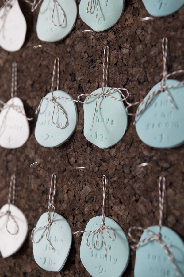 DIY Stamped Ombre Clay Wedding Escort Cards via Something Turquoise