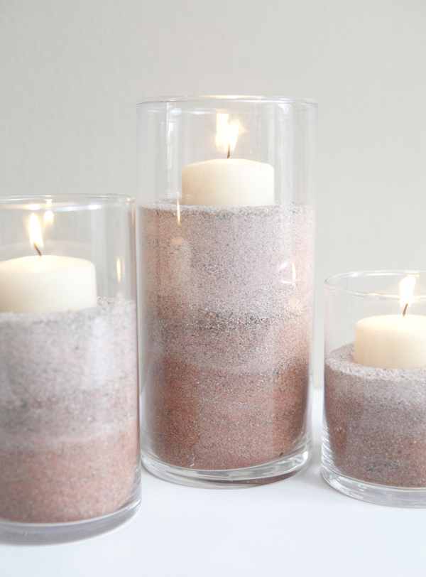 DIY Ombre Sand Candle Wedding Centerpieces via Something Turquoise